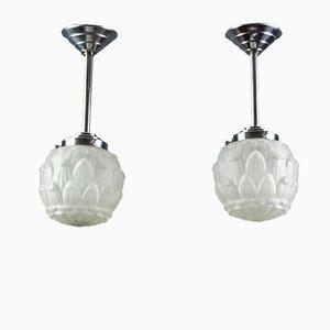 Lampes à Suspension Art Déco en Verre Givré Blanc et Chrome, années 30, Set de 2
