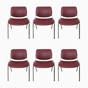 Model 106 DSC Desk Chairs by Giancarlo Piretti for Castelli / Anonima Castelli, 1960s, Set of 6