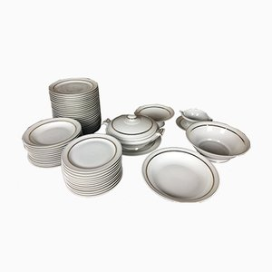Art Deco Porcelain Service Set, Set of 63