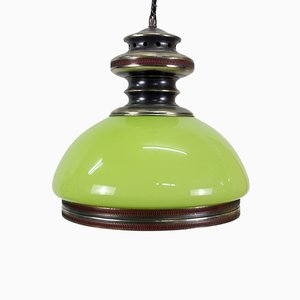 Green Opaline Glass Ceiling Lamp, 1980s