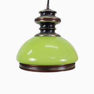 Grüne Deckenlampe aus Opalglas, 1980er