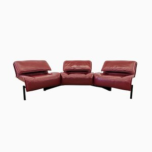 Burgundy Leather Model Veranda 123 Sofa by Vico Magistretti for Cassina, 1980s