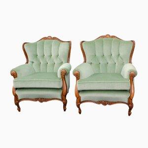 Walnut Armchairs, 1940s, Set of 2