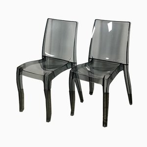 Plexiglass Side Chairs, 1980s, Set of 2