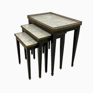 Mesas nido francesas de mármol y latón, años 60
