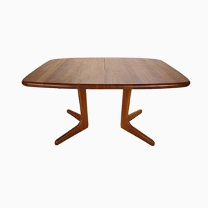 Danish Extendable Solid Teak Oval Dining Table from Glostrup, 1960s