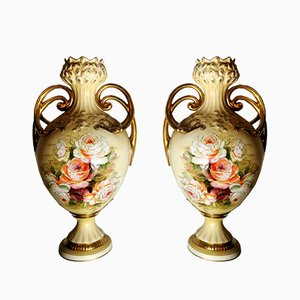French Hand-Painted Porcelain Vases, 1930s, Set of 2