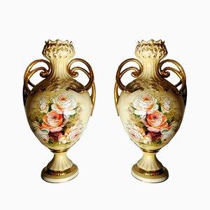 Vases en Porcelaine Peints à la Main, France, années 30, Set de 2