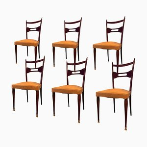 Mid-Century Italian Mahogany and Rosewood Dining Chairs, 1950s, Set of 6
