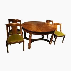 Antique French Empire Mahogany Dining Table & Chairs Set