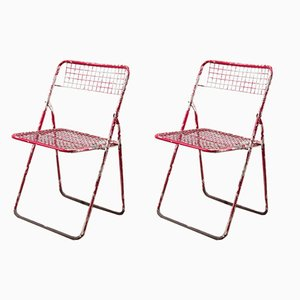 Red Folding Chairs, 1970s, Set of 2