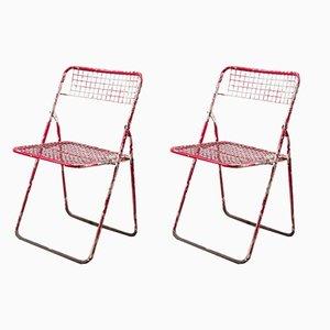 Sedie pieghevoli rosse, anni '70, set di 2