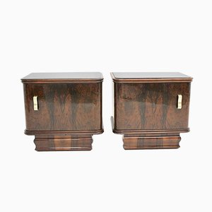 Small Art Deco Austrian Walnut Dressers, 1930s, Set of 2