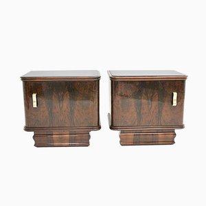 Small Art Deco Austrian Walnut Dressers, 1930s, Set of 2
