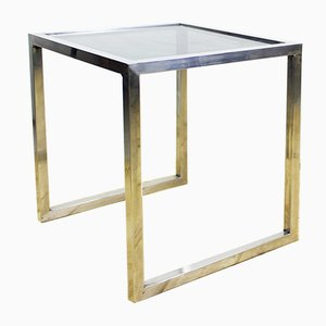 Chromed Metal and Smoked Glass Side Table, 1960s