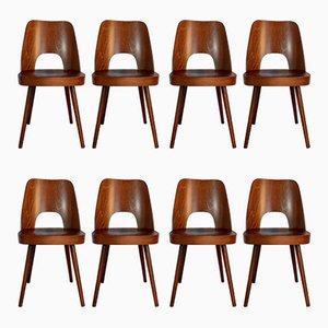 Mid-Century Walnut Model 515 Dining Chairs by Oswald Haerdtl for TON, 1950s, Set of 8