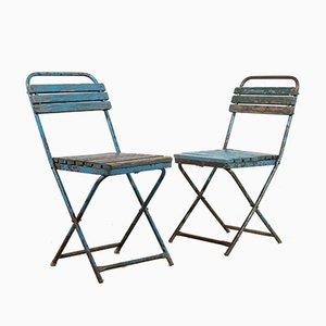 Blaue Klappstühle, 1950er, 2er Set