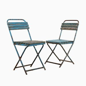 Blue Folding Chairs, 1950s, Set of 2
