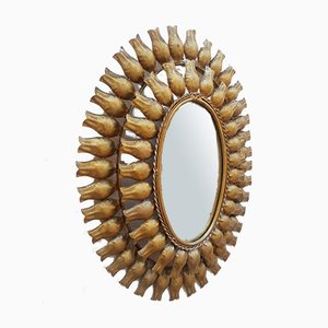 Mid-Century Wrought Iron and Gold Leaf Sunburst Mirror, 1960s