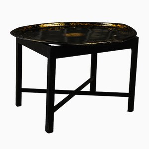 18th Century Black Lacquered and Ebonized Wooden Tray