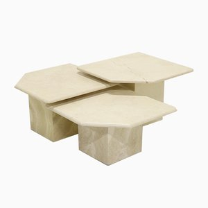 Italian Travertine Side Tables, 1970s, Set of 3