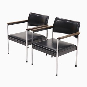 Armlehnstühle aus Stahl, 1960er, 2er Set