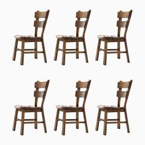 Brutalistische spanische Esszimmerstühle aus Eiche, 1950er, 6er Set
