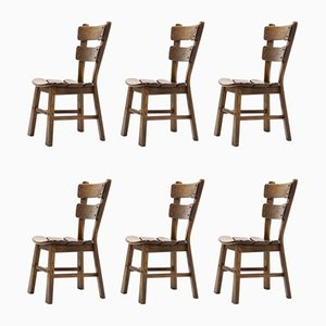 Spanish Brutalist Oak Dining Chairs, 1950s, Set of 6
