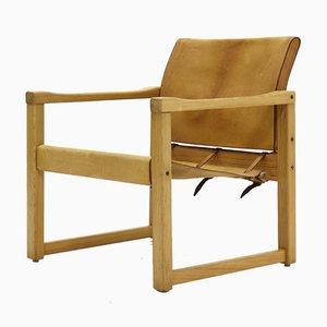 Sedia Safari in pino e pelle di Karin Mobring per Ikea, anni '70