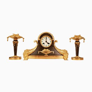 Art Deco Gilt Bronze Clock and Consoles Set, 1920s