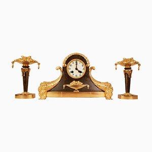 Set Horloge et Consoles Art Déco en Bronze Doré, années 20