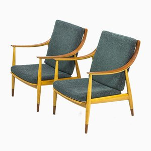 Model FD 145 Lounge Chairs by Peter Hvidt & Orla Mølgaard-Nielsen for France & Søn / France & Daverkosen, 1950s, Set of 2