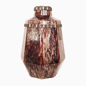 Art Déco Vase aus versilberter Bronze von Charles Catteau für Keramis, 1930er