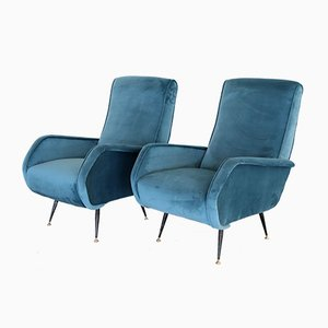 Italian Velvet & Brass Armchairs, 1950s, Set of 2