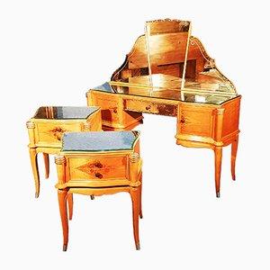 Juego de mesitas de noche y mesa de sicómoro de Jules Leleu, años 40