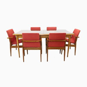 Mid-Century Rosewood Dining Table by L.Layton & M.Lazarus och Chairs by Maple of London, Set of 7