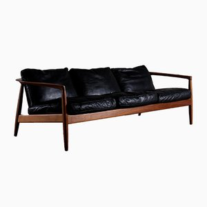 Leather Sofa by Folke Ohlsson for Bodafors, 1960s