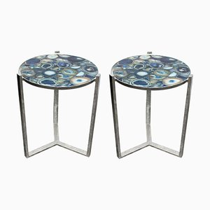 Marble Side Tables, 1980s, Set of 2