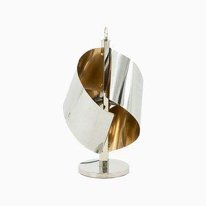Lámpara de mesa de metal cromado y dorado, años 70