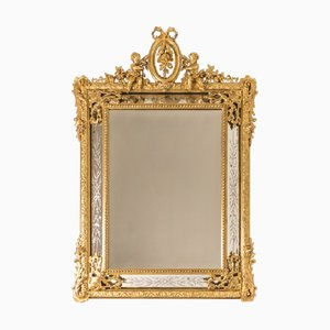 Antique Napoleon III Carved and Gilded Wooden Mirror