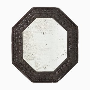 Antique Ebonized Wood Octagonal Mirror, 1900s