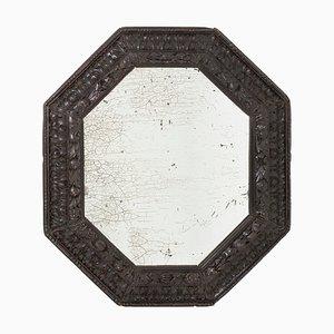 Espejo antiguo octogonal de madera ennegrecida, década de 1900
