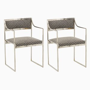 Chromed Metal Armchairs by Willy Rizzo, 1970s, Set of 2
