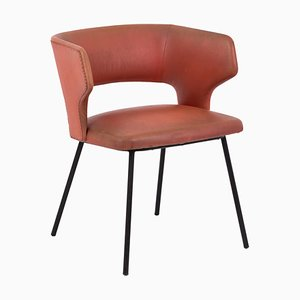 Orange Skai and Black Lacquered Metal Armchair, 1950s