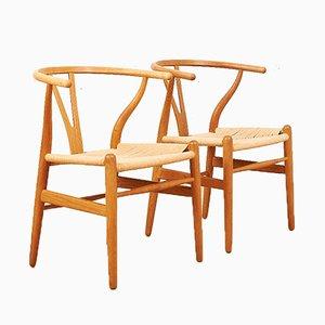 Chaises de Salle à Manger Modèle CH24 par Hans J. Wegner pour Carl Hansen & Søn, années 40, Set de 2