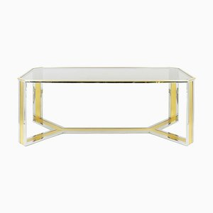 Chromed and Gilt Brass Dining Table, 1970s