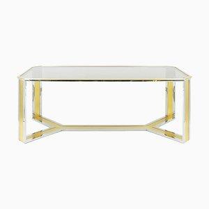 Mesa de comedor de metal cromado y dorado de Romeo Rega, años 70