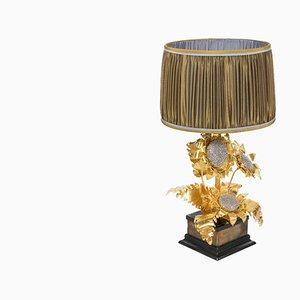 Lámpara de mesa de latón dorado y plateado, años 60
