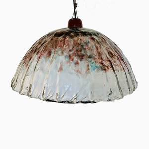 Vintage White and Red Murano Glass Ceiling Lamp, 1960s