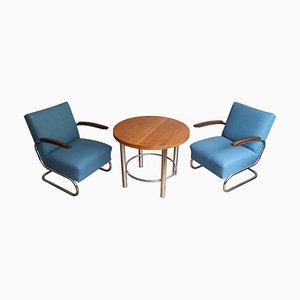 Poltrone e tavolino da caffè di Walter Schneider & Paul Hahn per Hynek Gottwald, anni '30